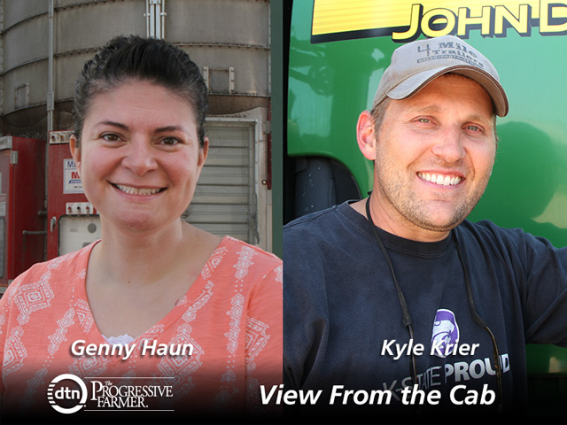 Farmers Genny Haun, of Kenton, Ohio, and Kyle Krier, of Claflin, Kansas, are reporting on crop conditions and agricultural topics throughout the 2018 growing season as part of DTN's View From the Cab series. (DTN photos by Pamela Smith)