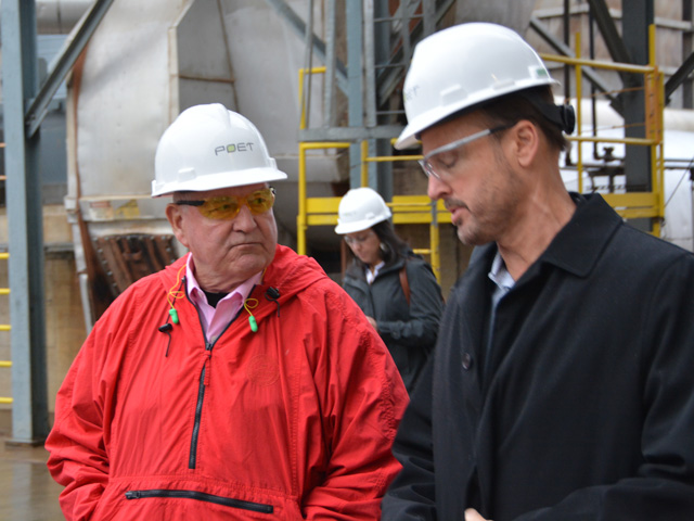 POET Chief Executive Officer Jeff Broin visits with U.S. Secretary of Agriculture Sonny Purdue on Thursday during a tour of the POET Biorefining plant in Chancellor, South Dakota. (Photo by Chris Clayton)