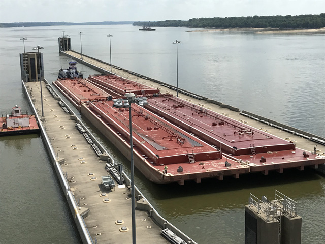 The brand-new Olmsted Locks and Dam, 17 miles upstream from the confluence of the Ohio and Mississippi Rivers, was dedicated on Aug. 30, 2018, after 30 years of construction. It is the largest civil works project in the history of the U.S. Army Corps of Engineers. (Photo courtesy of the U.S. Army Corps of Engineers)