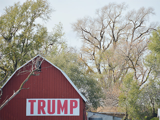 A barn off I-80 in eastern Nebraska reflects some of the rural support for President Donald Trump. January is a big trade month for the president with Japan, China and USMCA, all of which will help bolster support from farmers. (DTN file photo by Chris Clayton)