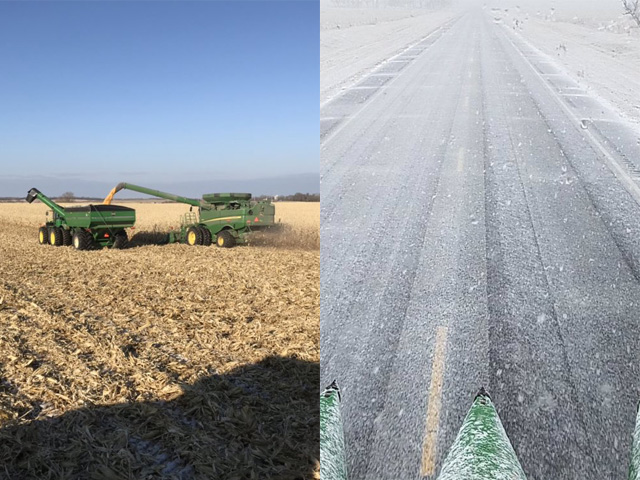On Nov. 15, the day started out perfectly for harvest in Roslyn, South Dakota. Later in the day, the weather changed from sunny to snowy, chasing farmers out of the fields -- a typical story for many this harvest season. (Photo by Ryan Wagner)