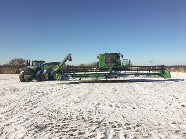 Snow, rain and cold have made for the slowest U.S. harvest season is almost 10 years, dating back to 2009. (Photo courtesy of Eric Luthi)