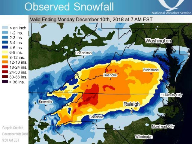 Record-breaking snow Dec. 8-10 occurred from Tennessee across North Carolina and Virginia. Areas in red received over 18 inches of snow in 48 hours. (NOAA graphic)