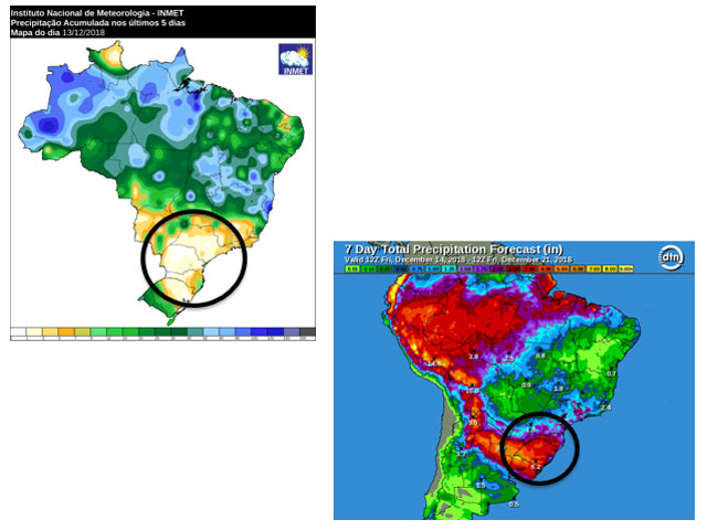 The week of Dec. 7-14 was completely dry in south-central Brazil. Forecast precipitation offers light to locally moderate amounts over the next seven days. (INMET/DTN combined graphic)