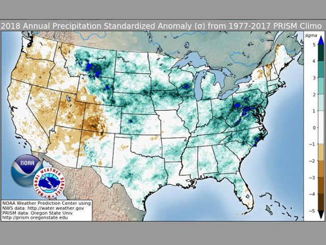 The 2018 standard deviations from the 40-year (1977-to-2017) mean precipitation values show a dramatic contrast between plentiful moisture central and east -- and far below the mean west. (NOAA graphic)