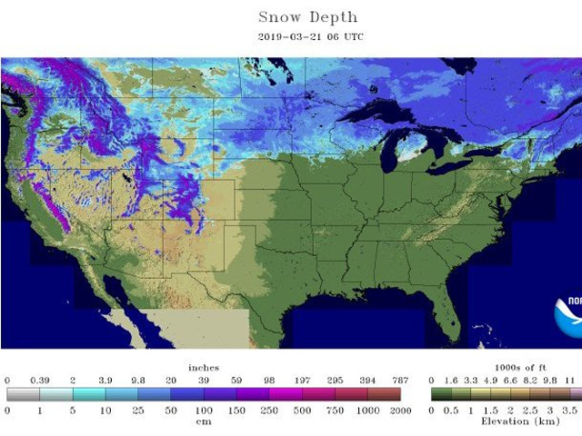 Snow depth Thursday, March 21, 2019, ranged from 25 centimeters to more than 50 centimeters (10 to 20 inches) in the eastern Dakotas, northwest Minnesota and southeast Manitoba. (NOAA graphic)