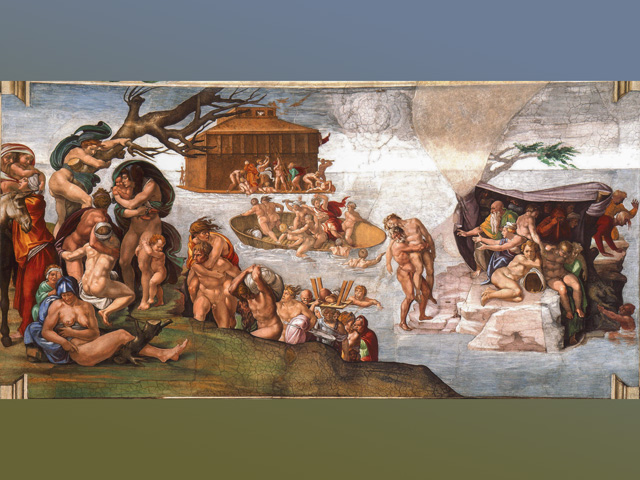 Michelangelo's depiction of the biblical flood on the ceiling of the Sistine Chapel.