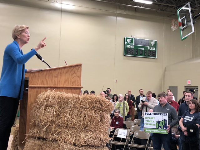 Sen. Elizabeth Warren, D-Mass., talks to a group of more than 100 family farm activists on Saturday about the way government supports large corporations over average people and small businesses such as farms. Warren later took part in a forum on rural issues at Buena Vista University.