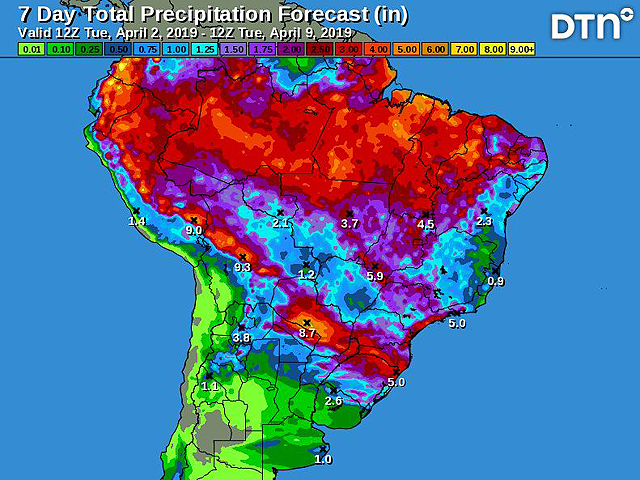 The seven-day total precipitation forecast for South America indicates episodes of scattered showers and thunderstorms in Brazil. (DTN graphic)
