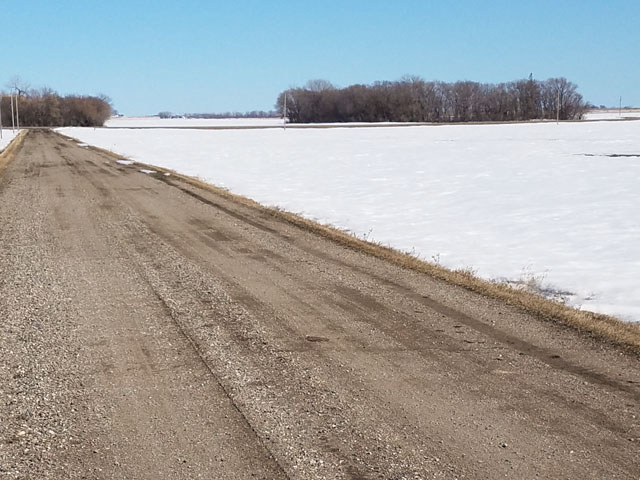 As shown in early April, these fields still weren't ready for spring planting in Gentilly Township, Polk County, in northwest Minnesota. This picture also represents the current conditions in western North Dakota, where many mature spring wheat and durum fields have been covered with early snow. (Photo by Tim Dufault)