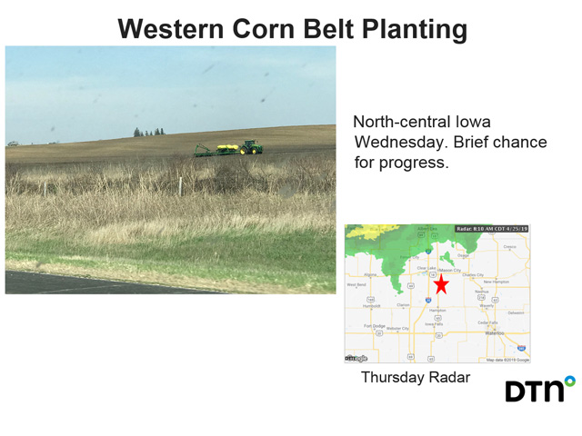 This planting rig in north-central Iowa on April 25 is an example of Iowa producers' planting gains in the past seven days. (DTN photo by Matt Herman)