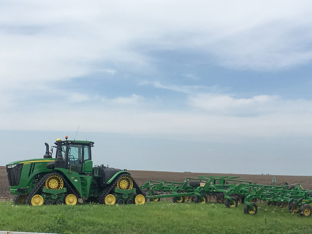 Parked tillage equipment in central Illinois is emblematic of very little planting progress during the week ending May 5. (DTN photo by Pamela smith)