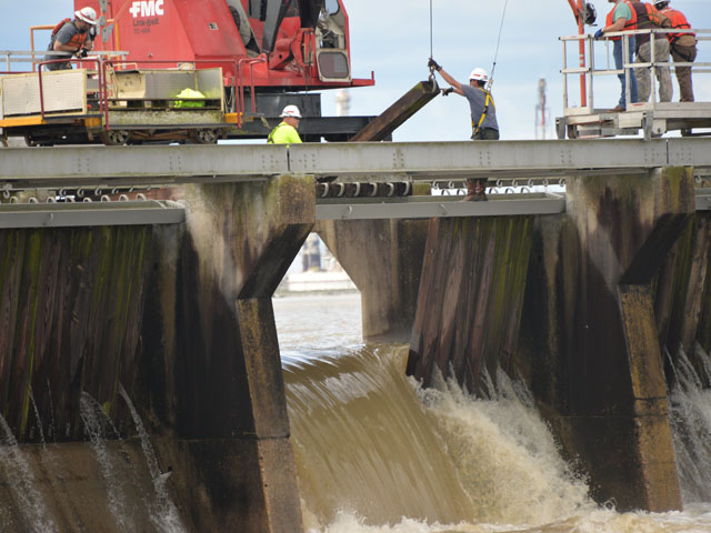 Heavy rains caused the U.S. Army Corps of Engineers to open the Bonnet Carre spillway for a second time this year. (Photo courtesy of the U.S. Army Corps of Engineers, New Orleans District)