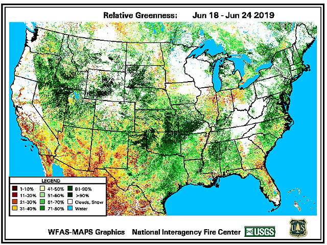"A look at relative greenness shows how the northern and eastern Midwest are far behind average going into what is usually ""prime time"" for crop development. (National Interagency Fire Center graphic)"