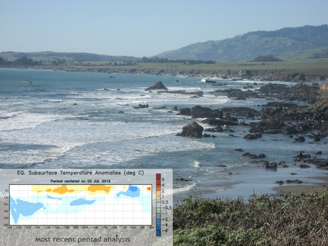 Cooling of eastern Pacific Ocean waters suggests an end to El Nino and possible drier times for late summer in the Midwest. (DTN file photo, CPC graphic)