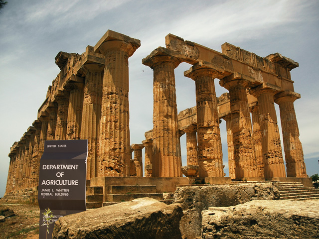 The Temple of Hera at Selinunte, Sicily, highlights how even the grandest of buildings can be dismantled. USDA has provided a similar blueprint for the relocation of the Economic Research Service (ERS). (DTN graphic by Nick Scalise)