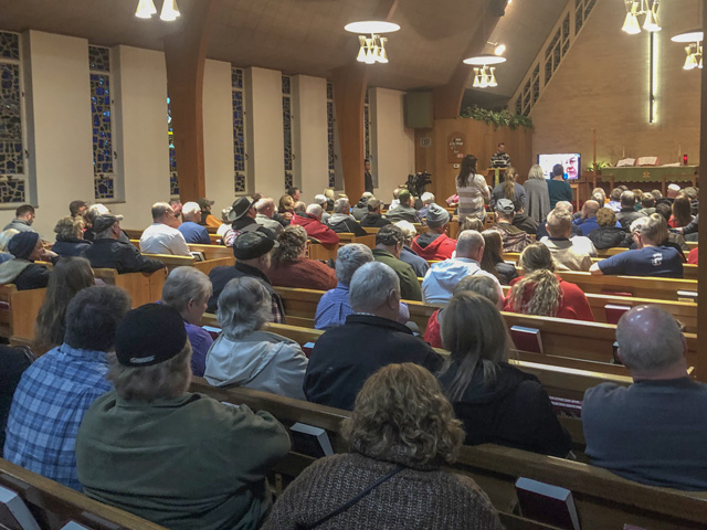 The pews were filled Monday night at St. John Lutheran Church in Mineola, Iowa, as the community discussed an eight-barn poultry operation that could be built just north of town. (DTN photo by Chris Clayton)