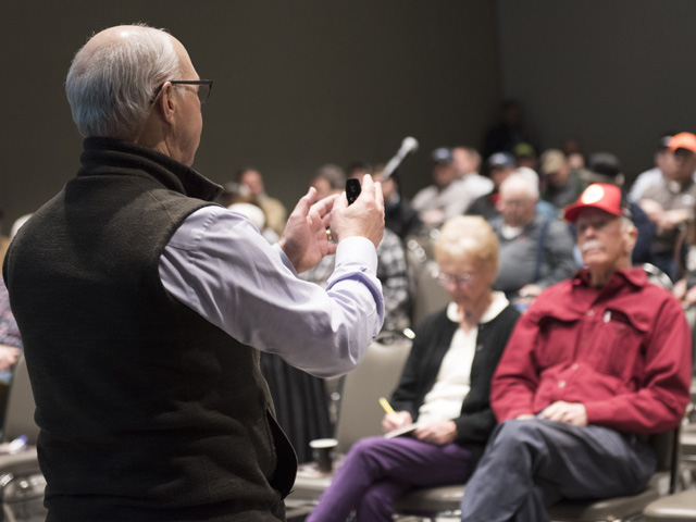 Attendance was good, and producer anxiety was high, when the subject of too much moisture was brought up during DTN market and weather seminars at the 2020 National Farm Machinery Show in Louisville, Kentucky. (DTN photo by Joel Reichenberger)