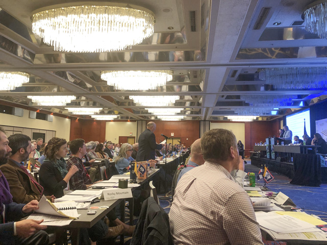 Just under 200 delegates at the National Farmers Union convention in Savannah, Ga., spent roughly a day and a half debating proposed policy changes for the organization and its recommendations to change federal policies (DTN photo by Chris Clayton)