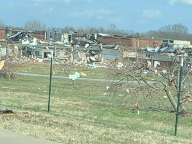 Tornadoes tore through the Nashville area earlier this week, causing extensive damage to homes, businesses and schools, like West Wilson Middle School above. (Photo courtesy of Jen Jannusch)