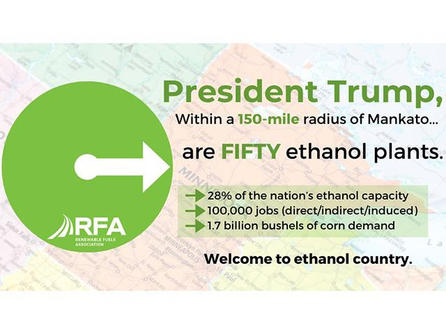 The Renewable Fuels Association tweeted this image out highlighting the volume of ethanol produced within a 150-mile radius of Mankato, Minn., where President Donald Trump visits Monday afternoon. (image from the Renewable Fuels Association)