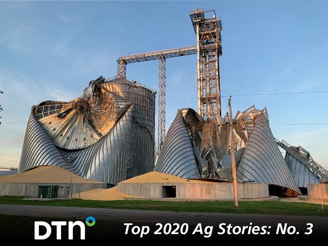 A ripped-apart grain storage setup in Luther, Iowa, illustrates the estimated $7.5 billion in damage caused by a derecho windstorm Aug. 10, 2020. (DTN photo by Todd Hultman)