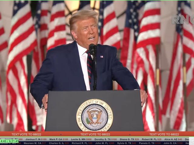 Speaking from a stage set up on the South Lawn of the White House, President Donald Trump formally accepts the Republican nomination Thursday night to run for reelection in the November election. (From Republican National Convention video)