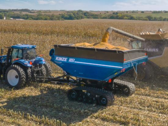 Grain cart maintenance before and during harvest is essential to keep combines rolling in the fall. (Photo courtesy of Kinze Manufacturing)