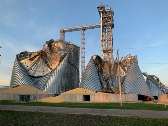 Grain bins crushed last year in the Iowa derecho. A Senate funding bill will include language to cover disaster losses for farmers for both 2020 and 2021. The House Agriculture Committee has advanced a similar bill. (DTN photo by Todd Hultman)