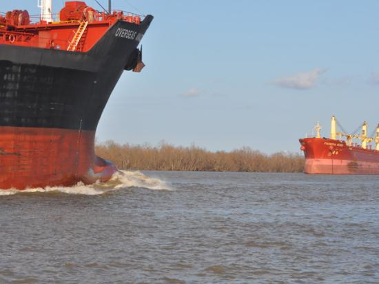 Bulk cargo ships head in opposite directions on the lower Mississippi River near New Orleans during normal traffic flow. Hurricane Ida left debris on the river such as loose barges. Grain exports are down sharply as some major terminals on the river are still closed for repairs. (DTN file photo by Chris Clayton)