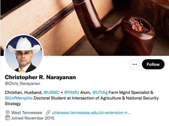 People who were close to Chris Narayanan, as well as those who knew him on social media, are struggling with his death over the past weekend. Narayanan was well known as a commodity analyst and passionate about helping farmers with markets. (Image from Twitter profile)