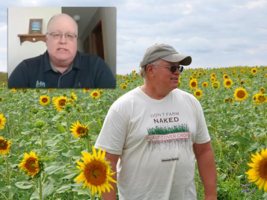 North Dakota farmer and rancher Gabe Brown standing in a field of sunflowers and other cover crops during a farm tour in 2012. Brown (insert), testified online about regenerative agricultural practices before the House Agriculture Committee on Thursday. (DTN file photo by Chris Clayton)