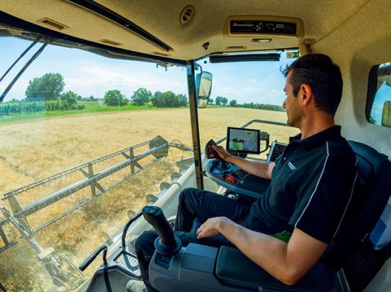 AGGO Corp. pulled in eight AE50 awards, one for its joystick steering system on its tracked IDEAL combine (Photo courtesy of AGCO)