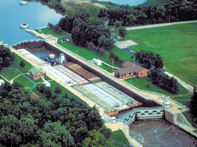 The Marseilles Lock and Dam is one of the locks scheduled for repair beginning July 1 through Oct. 29. Marseilles Lock is located southwest of Marseilles, Illinois, and is 244.6 miles above the confluence of the Illinois River with the Mississippi River at Grafton, Illinois, at the foot of Bells Island. Marseilles Dam is 2.5 miles upstream of the lock at the head of Bells Island. (Photo courtesy U.S. Army Corps of Engineers Rock Island District)