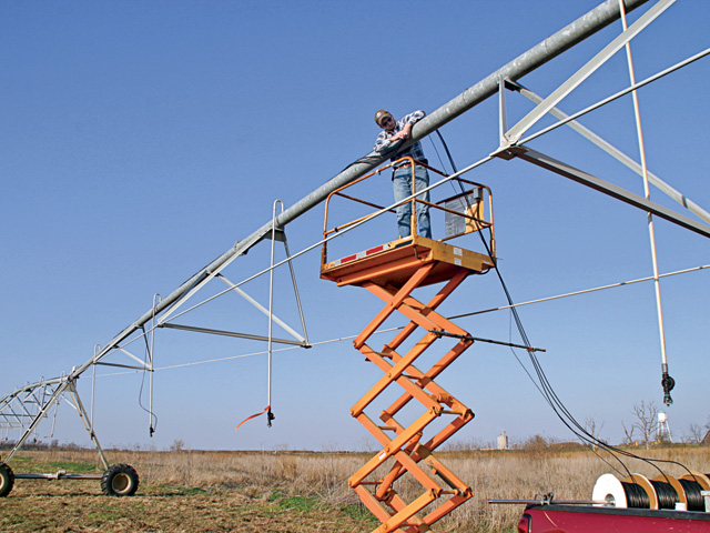 A pivot system falls into the seven-year farm machinery and equipment category for depreciation purposes. (Progressive Farmer photo by Rick Heard)