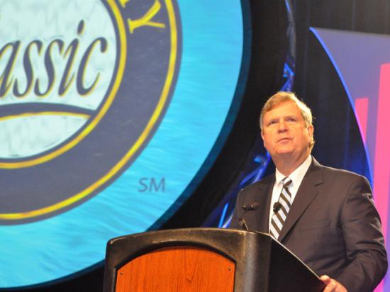 Former Agriculture Secretary Tom Vilsack speaking at Commodity Classic last year. Vilsack has accepted a job as head of the U.S. Dairy Export Council.