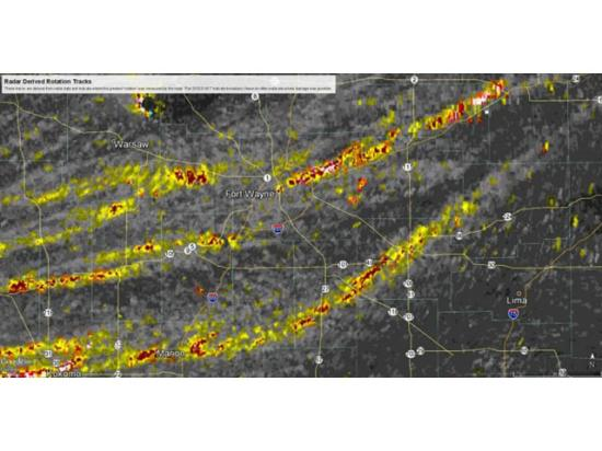 This satellite/radar composite shows the tracks of storms that moved across Indiana Wednesday afternoon and evening. (Graphic courtesy of the Ft. Wayne, Indiana, National Weather Service office)
