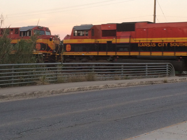 This Kansas City Southern train is moving through San Antonio, Texas. (DTN photo by Mary Kennedy)
