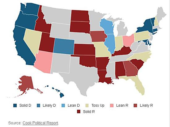 This map from Cook Political Report shows the various rankings of Senate races across the country and the likelihood they could change parties. (Graphic courtesy of Cook Political Report)