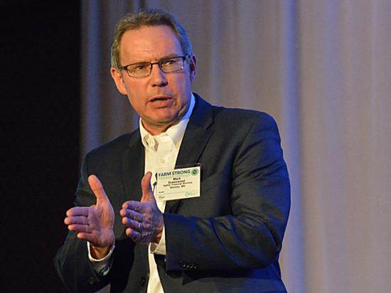 Mark Greenwood, senior vice president of financial services for AgStar, offered some insights for farmers at the DTN/The Progressive Farmer Ag Summit in Chicago on Tuesday. (DTN photo by Jim Patrico)