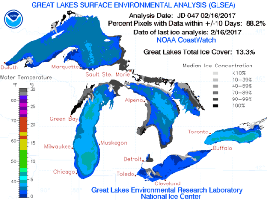 Ice coverage on Lake Superior is unseasonably light for this time of year. (Graphic courtesy of the NOAA Great Lakes Coastal Forecasting System)