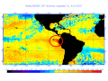 Equatorial Pacific temperatures off the South America coast are well-above normal, and appear to have jump-started El Nino weather happenings in the Americas. (NOAA/NESDIS graphic by Nick Scalise)