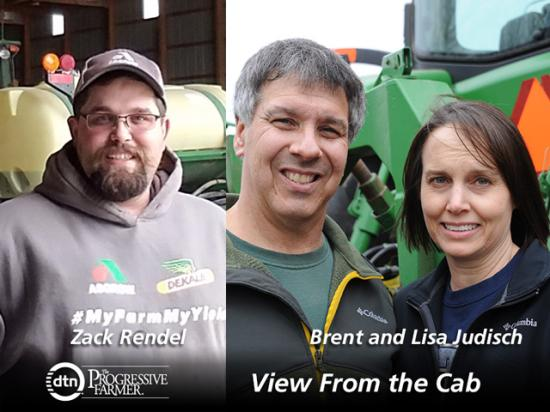 Zack Rendel of Miami, Oklahoma, (left) and Brent and Lisa Judisch of Cedar Falls, Iowa, are this year's featured DTN View From the Cab farmers. (Courtesy photo of Zack Rendel; DTN photo of Brent and Lisa Judisch by Pamela Smith)