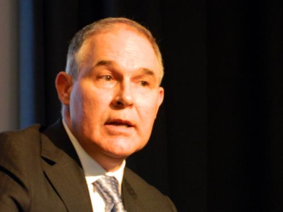EPA Administrator Scott Pruitt takes questions during an Earth Day Texas forum Friday evening. Pruitt defended his strategy for working on air and water quality issues while criticizing the way the Obama administration handled the environment. (DTN photo by Chris Clayton)