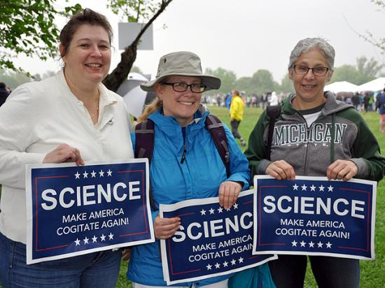 From left to right, entomologists Kelley Tilmon (Ohio State), Karen Sime (SUNY-Oswego) and Chris DiFonzo (Michigan State) were among thousands of participants in the March for Science. (DTN photo by Emily Unglesbee)