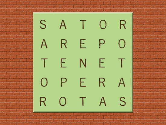 "In Latin, the two-directional palindrome ""Sator arepo tenet opera rotas"" meant, roughly, ""The farmer reaps with the plow."" (Graphic by Elaine Kub)"