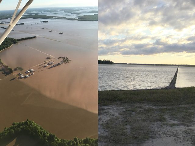 Arkansas farmers were devastated by recent flooding, and the University of Arkansas System Division of Agriculture released a preliminary estimate of 64.5 million in losses to farmers. That estimate was just for the costs of seed and herbicides already applied, equipment and labor. (Photo on the left taken by Andy Jett, Success, Arkansas, over his flooded farm; photo on the right of the Cache River flooding taken by Joe Christian, Jonesboro, Arkansas)
