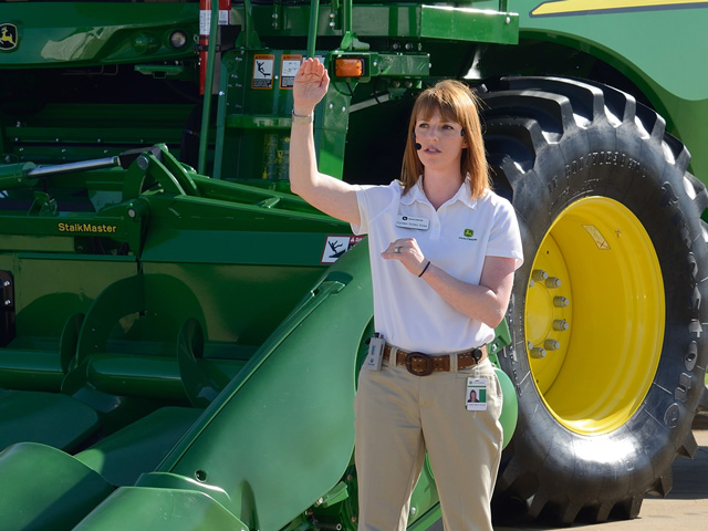 Cyndee Smiley Dolan, division marketing manager for John Deere, helped introduce the new S700 Series of combines last week at Deere's Media Days in Moline, Illinois. (DTN/The Progressive Farmer photo by Jim Patrico)