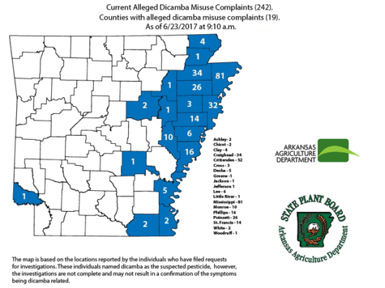 Complaints claiming misuse or drift of dicamba herbicide continue to mount in Arkansas. (Graphic courtesy of the Arkansas Agriculture Department)
