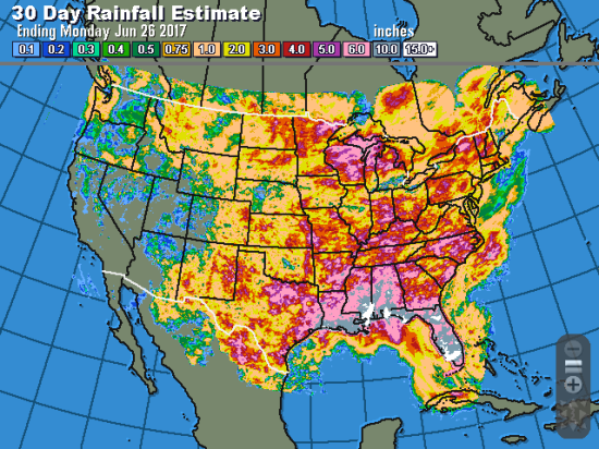 The recent weather pattern continues to bring rain to the Eastern Corn Belt while the western edge remains dry, leaving high poor-to-very poor crop ratings in both Indiana and South Dakota. With these early problems, a record national yield doesn't seem likely in 2017 (Source: DTN ProphetX).